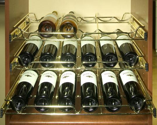 Brass Slide-Out Wine Racks