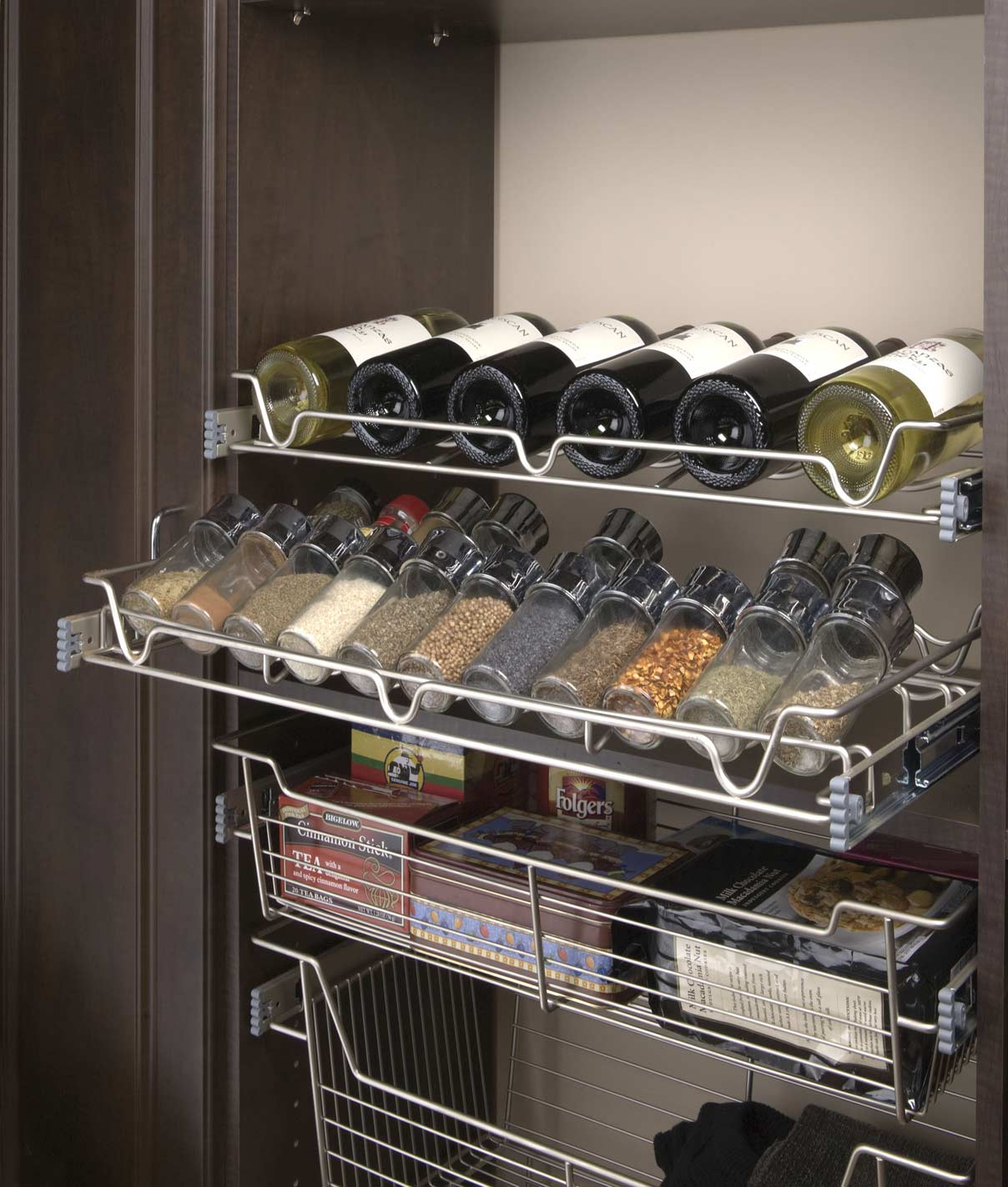 Satin Wire Rack, Spice Rack, and Basket