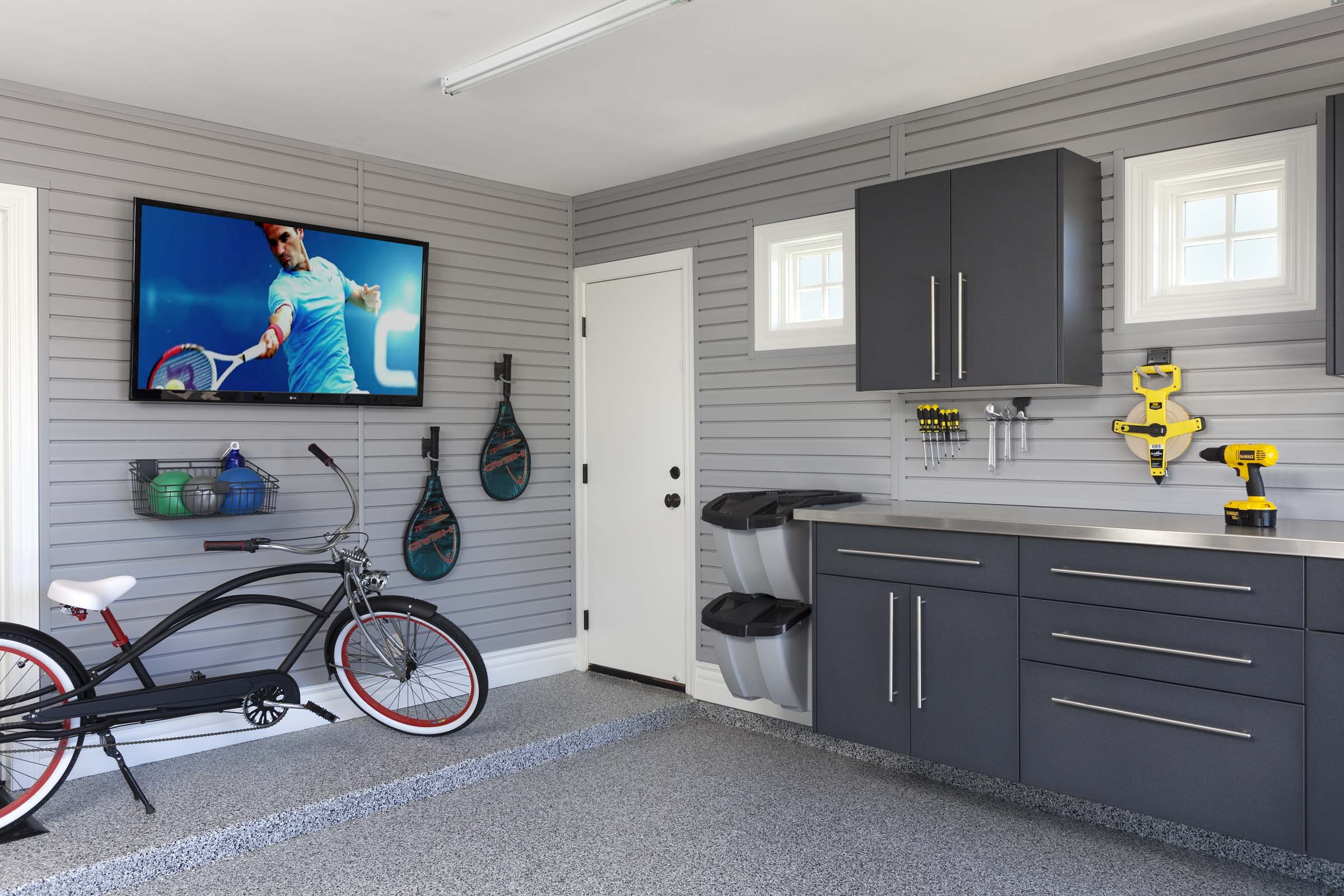 Granite Workbench-Stainless Counter-Grey Slatwall with TV HandiNet-Bike-Smoke Floor-Arcadia 2013