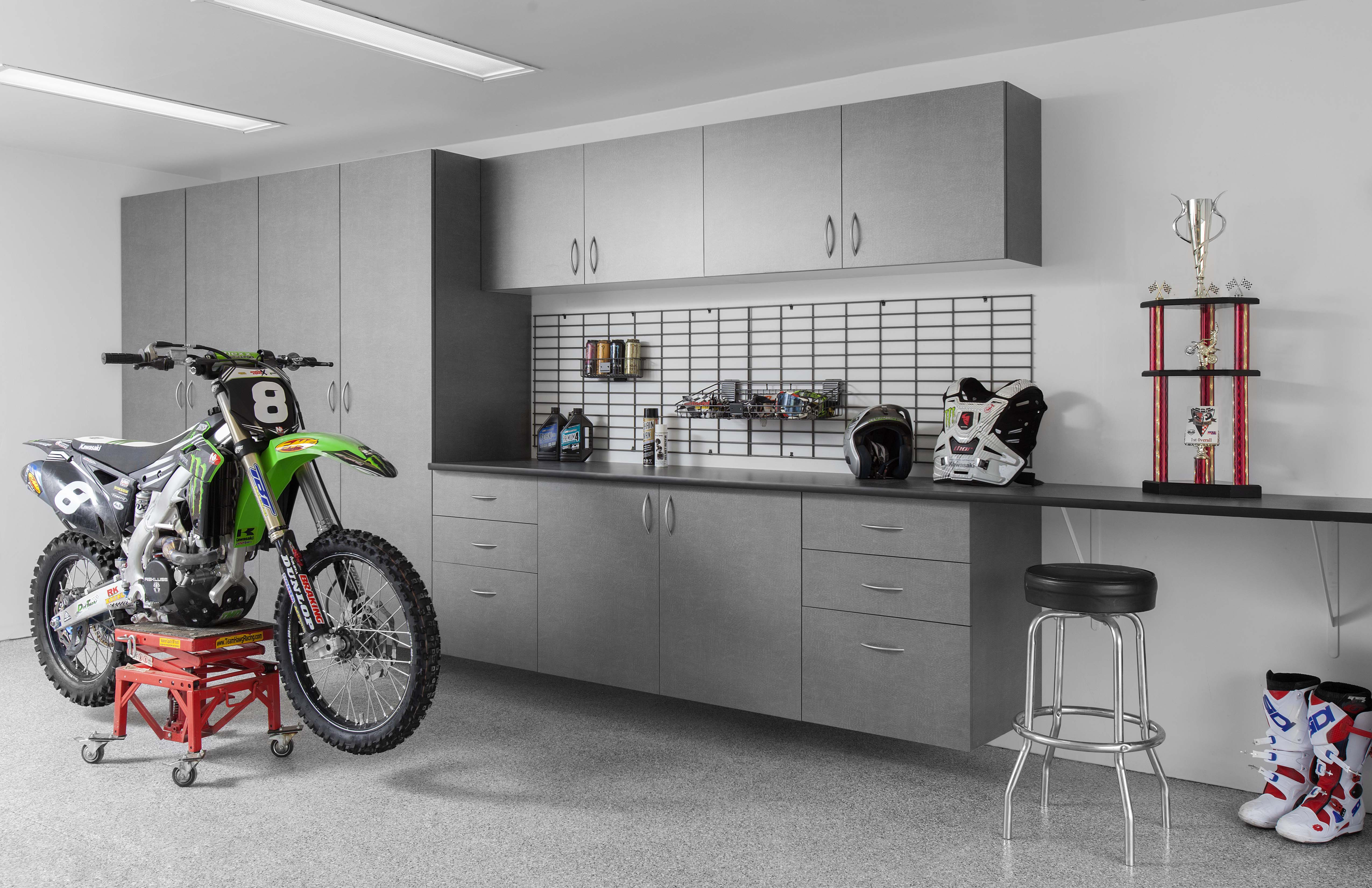 Pewter Cabinets-Ebony Star Workbench-Silverado Floor-Dirt Bike-Abbott-May 2013