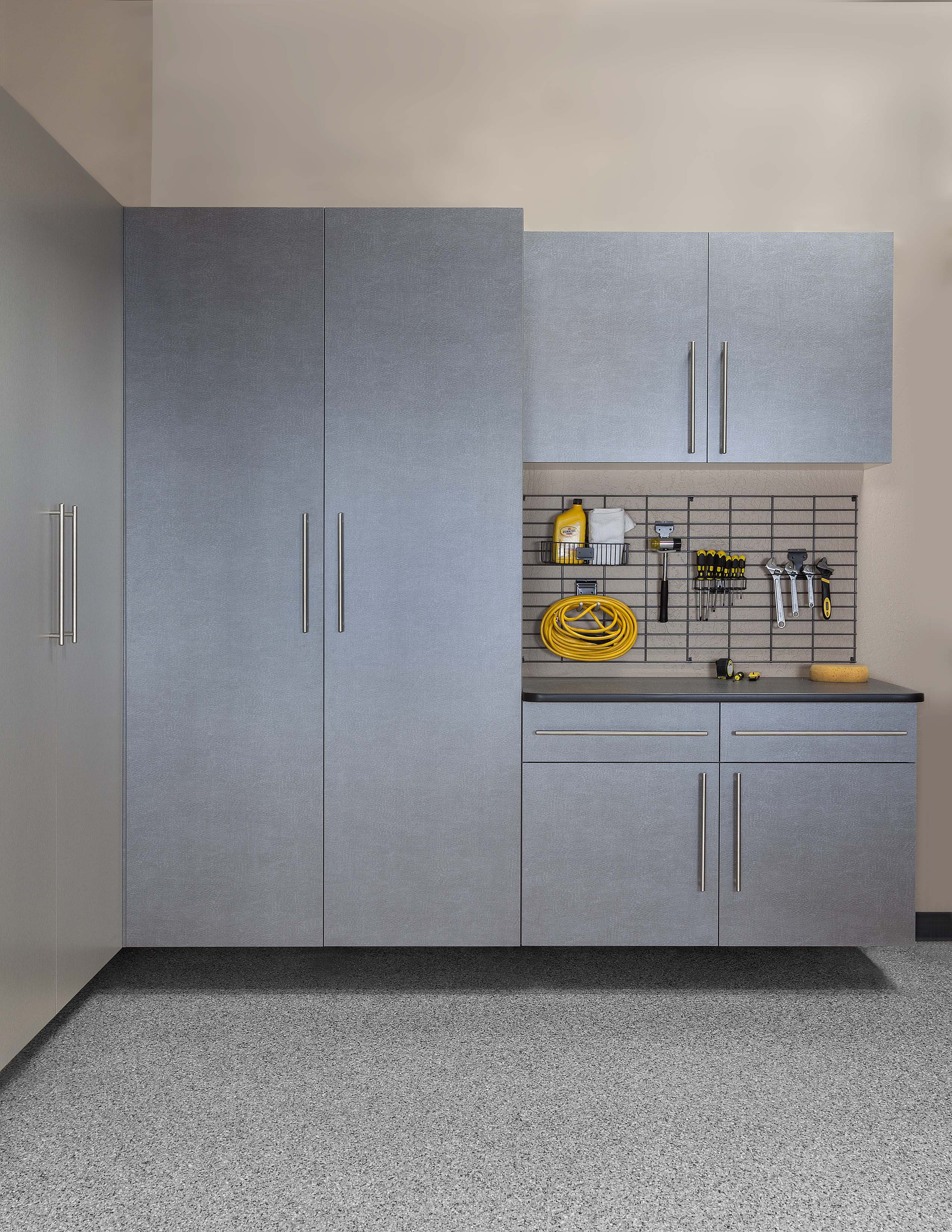 Pewter Cabinets with Ebony Workbench - Grid Wall