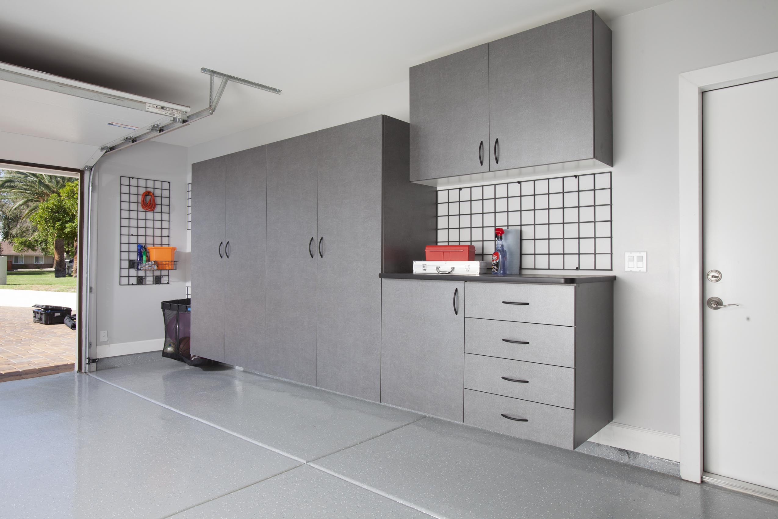 Pewter Cabinets with Ebony Workbench w Grid Wall
