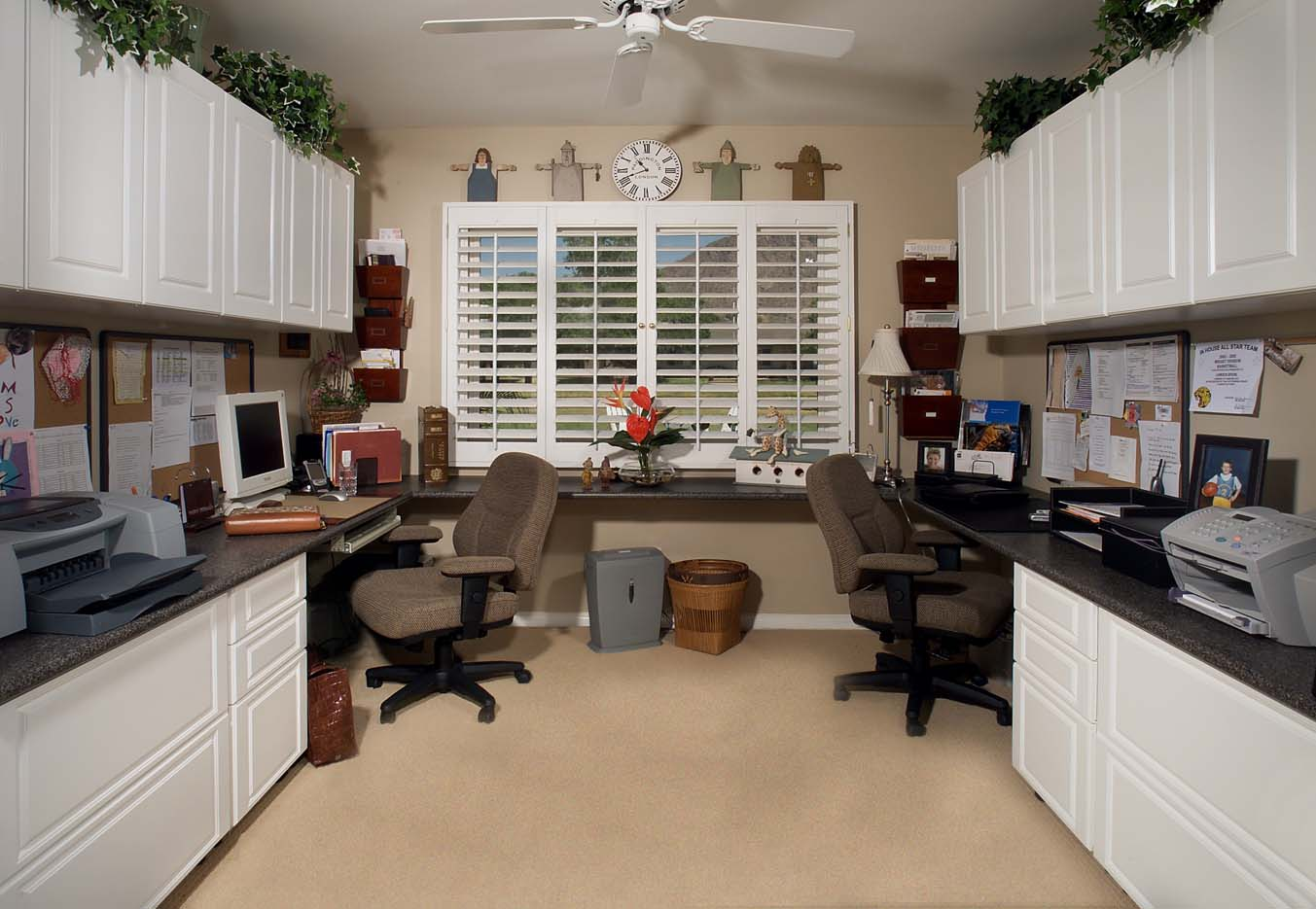 White Office in Raised Panel Two Workstations