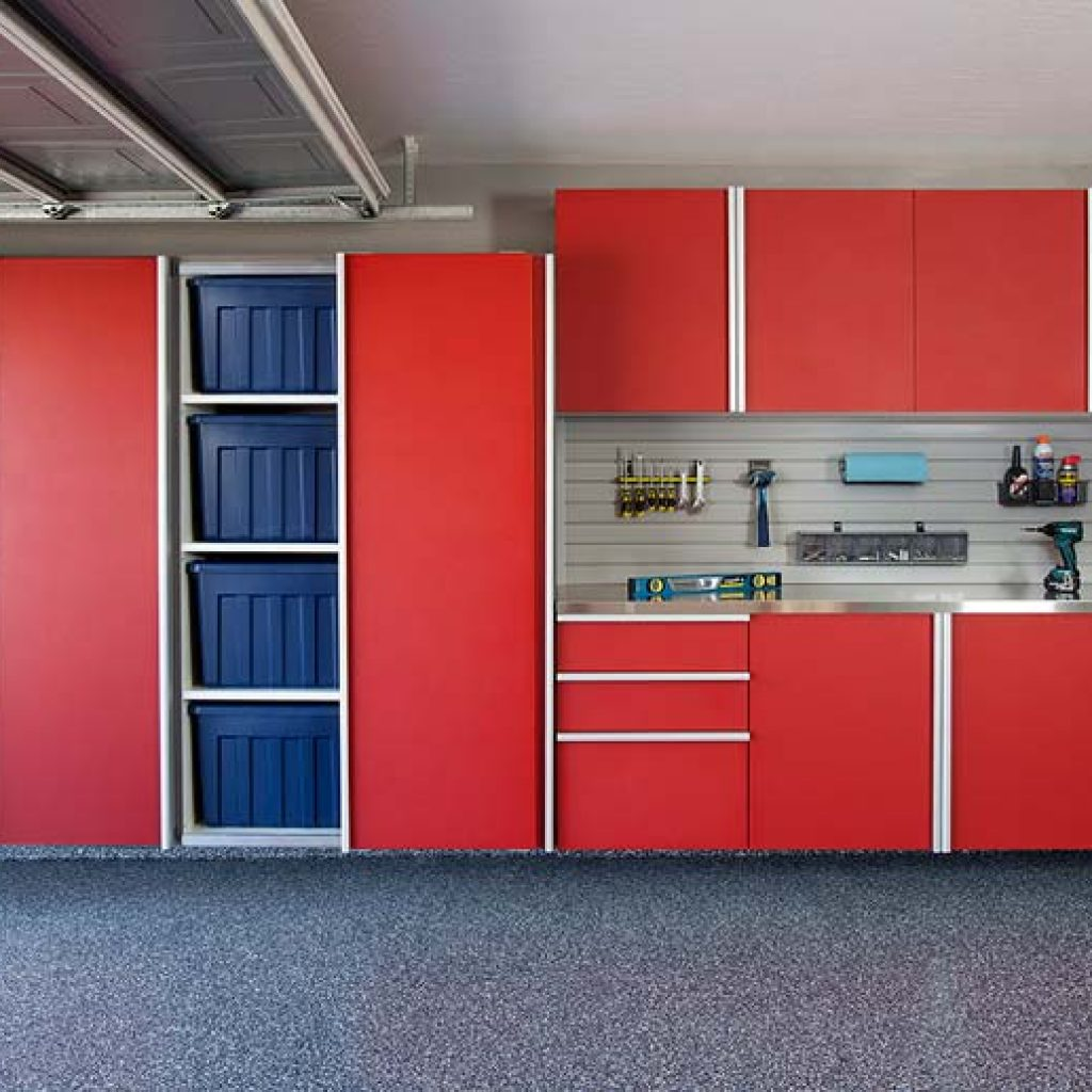 Red Sliding Door Open  w Stainless Workbench-Grey Slatwall