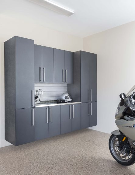 Granite Doors with Stainless Workbench - Grey Slatwall