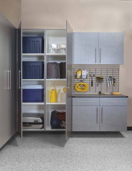 Pewter Cabinets - Tall Cabinets Open