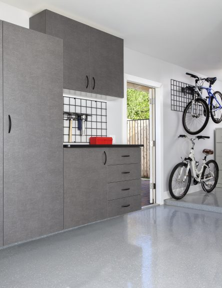 Pewter Cabinets with Ebony Workbench and Bike Racks