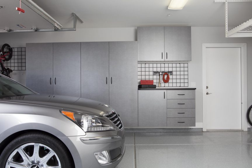 Pewter Cabinets with Workbench-Car-Straight Shot 2012