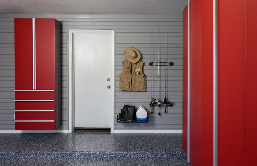 Red Cabinets w Fishing Rods on Grey Slatwall-Aug 2013