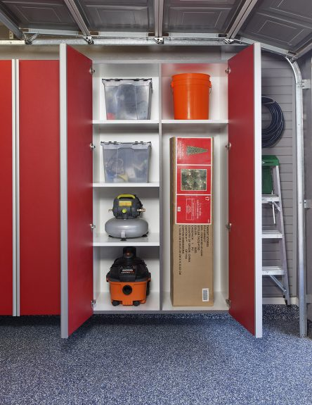 Red Cabinet w Vertical Divider-Adjustable Shelves for Tall Items