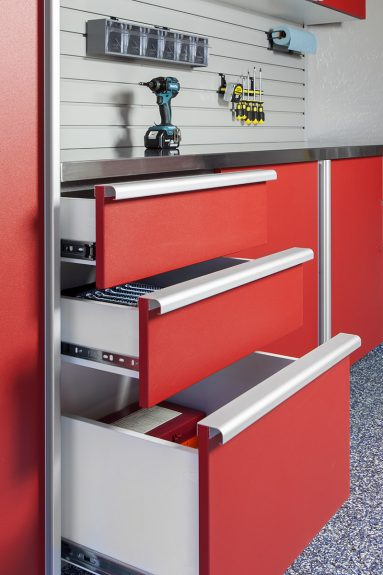 Red Drawers Open w Extruded Handles