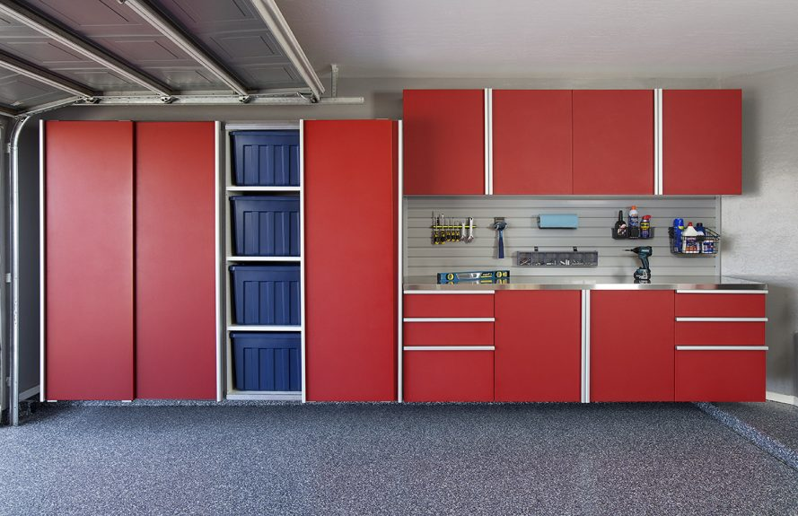 Red Sliding Cabinets Open w Stainless Workbench-Grey Slatwall