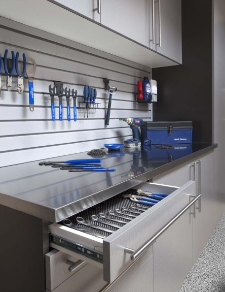 Silver Drawer with Stainless Counter - Grey Slatwall